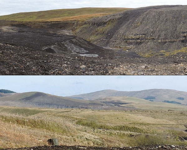 The unrestored site (top) and a view across the restored landform blending in with the landscape. Photo: Banks Mining