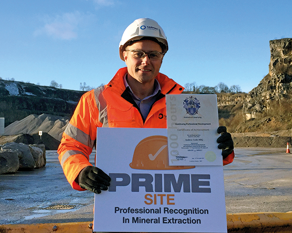 Tarmac's Andy Caile, now Dene quarry manager, entered the industry as an apprentice. Photograph: Institute of Quarrying
