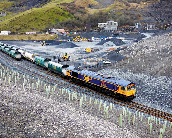 The new rail freight connection at Arcow quarry (photograph: Tarmac)