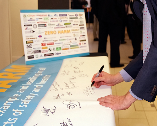 Chief executives signed the pledge to achieve zero harm in the workplace. Photograph: MPA