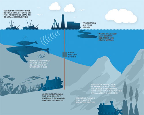 Potential impacts of seabed mining on the marine environment. Credit: Greenpeace International
