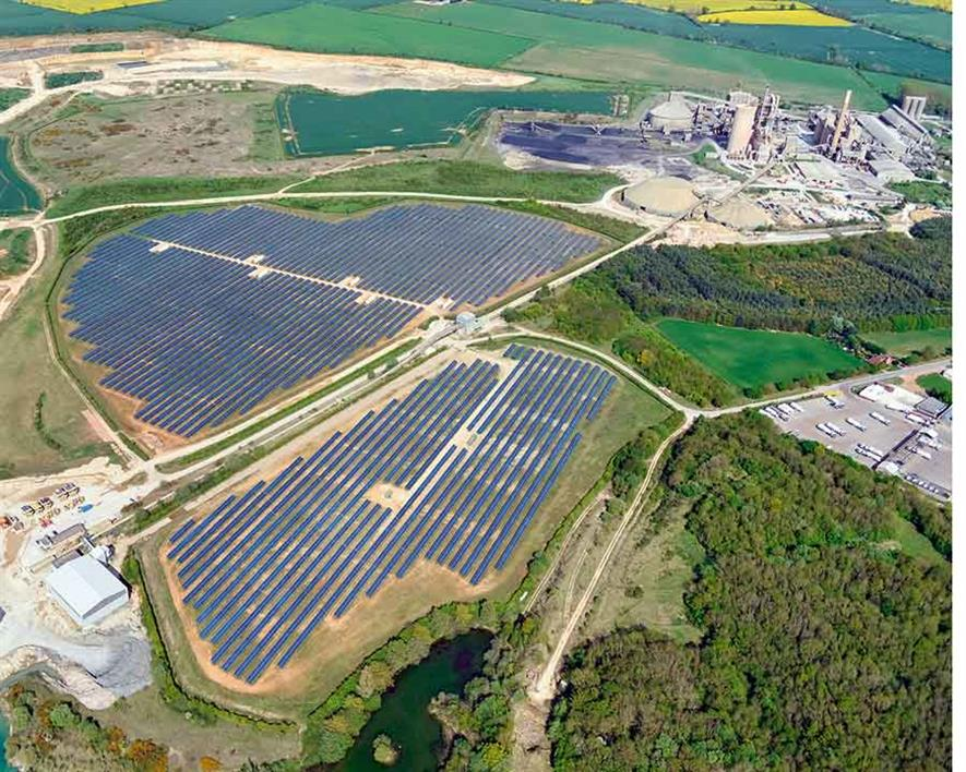 The 58,000 solar panels provide 13% cent of the electricity used by Ketton cement works. Photograph: Hanson