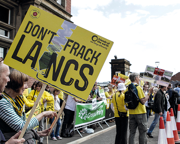 Anti-fracking rally outside Lancashire County Council in June 2015. Photograph: Friends of the Earth