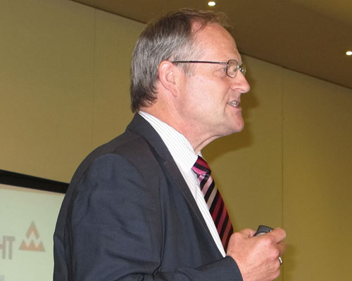 Peter Barkwell delivered an upbeat address. Credit: BAA