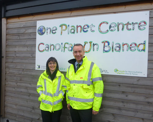 Rachel Jowitt, waste strategy and resources manager and Biffa's Steve Oulds at Monmouth County Council's One Planet Centre, Llanfoist