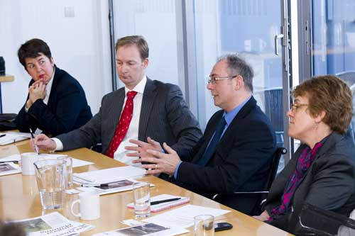 Networking: (left to right) Judith Damerell, Robert Asquith, Nick Hollands and Mary Tappenden (Image credit: Julian Dodd)