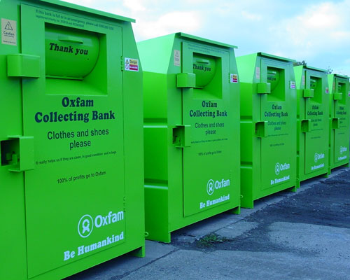 Oxfam clothes recycling bins. Credit: Oxfam