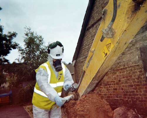 Radioactivity: Simon Maclaughlin carrying out radiological monitoring of excavated spoil (Image credit: RPS Group)