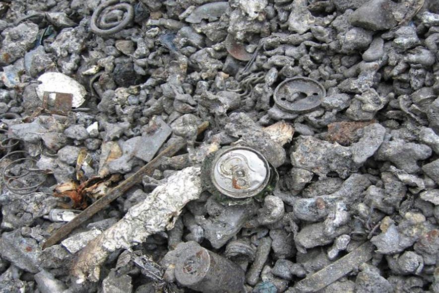 Incinerator bottom ash containing aluminium. Photograph: Alpuro