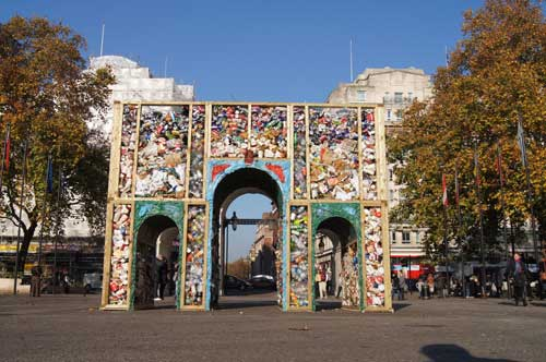 Marble Replica Marble Arch built with London litter