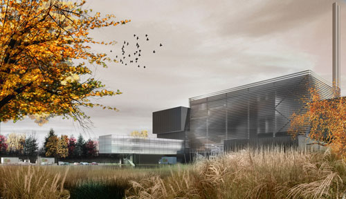 Computer-generated image which shows what Suffolk County Council's new energy-from-waste facility will look like when it's built in Great Blakenham