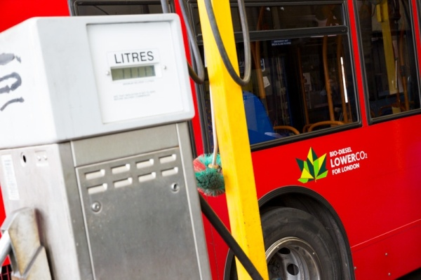 A London bus fills up on a blend of 80% regular diesel and 20% biodiesel. Picture: TfL