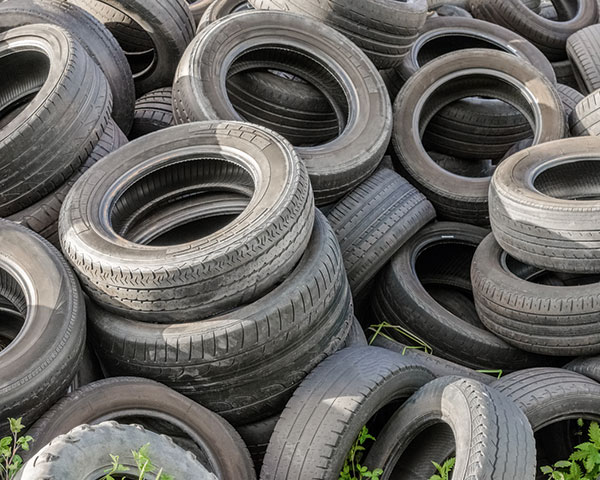 End-of-life tyres can be used for crumb rubber. Photograph NTEC