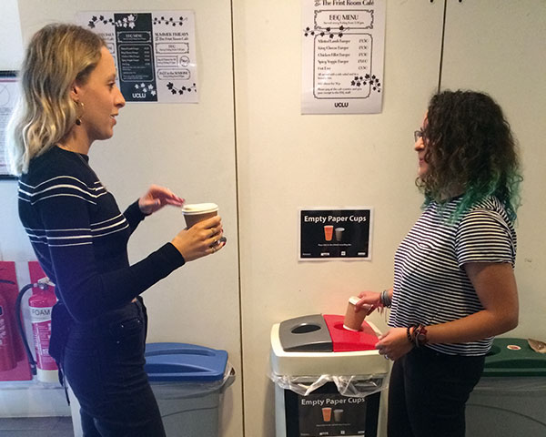 Students recycling coffee cups at UCL. Photograph Bywaters