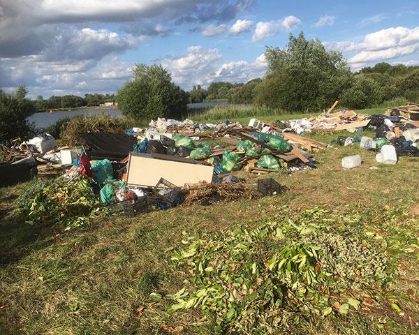 Fly-tip: waste dumped at Bray, near Maidenhead. Photograph Summerleaze
