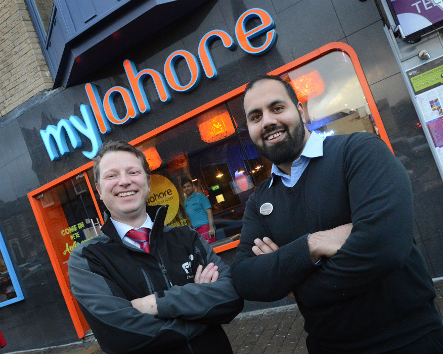 FCC's John Turner and Ghafoor Farooq MyLahore store manager. Picture: FCC