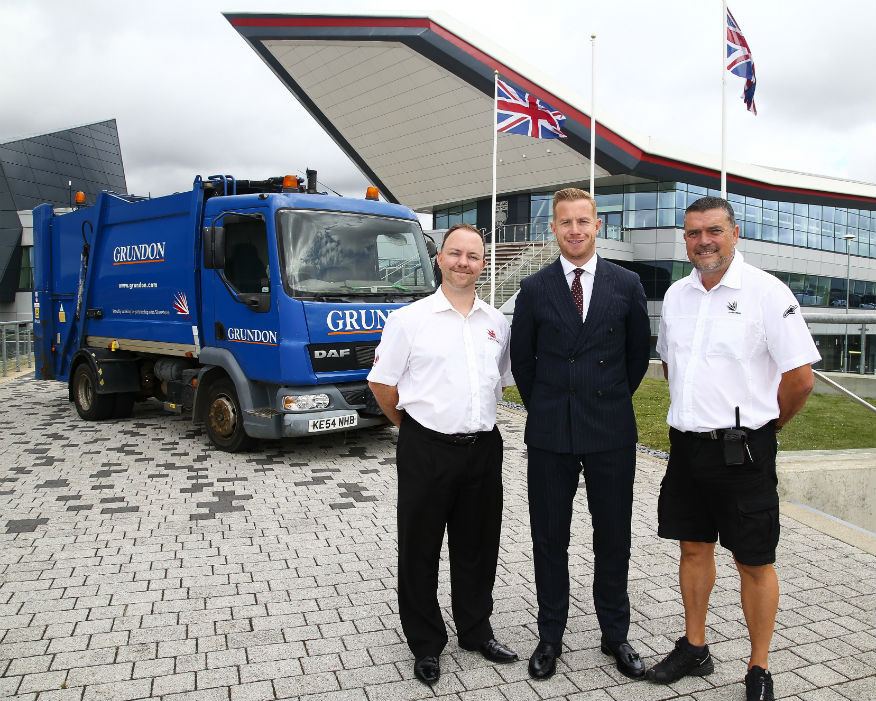 Grundon's Stephen Hill centre with Silverstone's Lee Thomas, left. Picture: Grundon