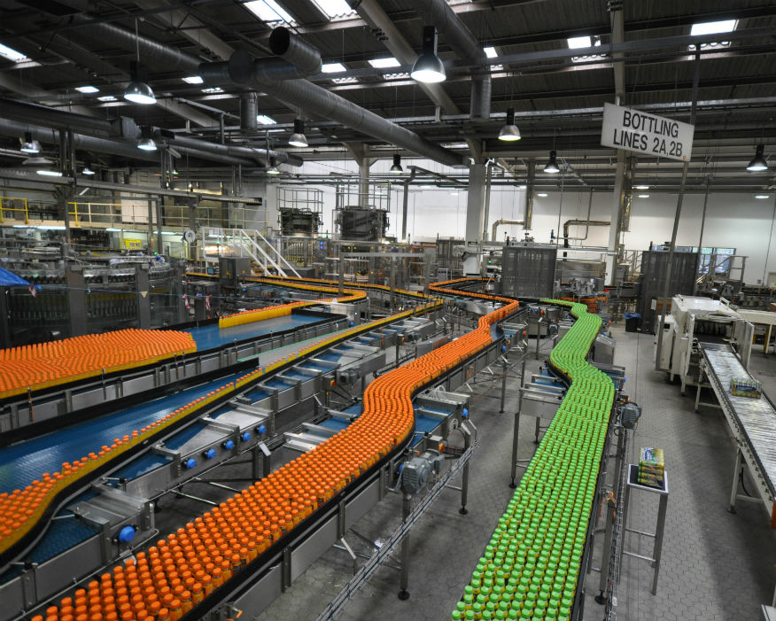 Lucozade Ribena Suntory bottling plant. Picture: LRS