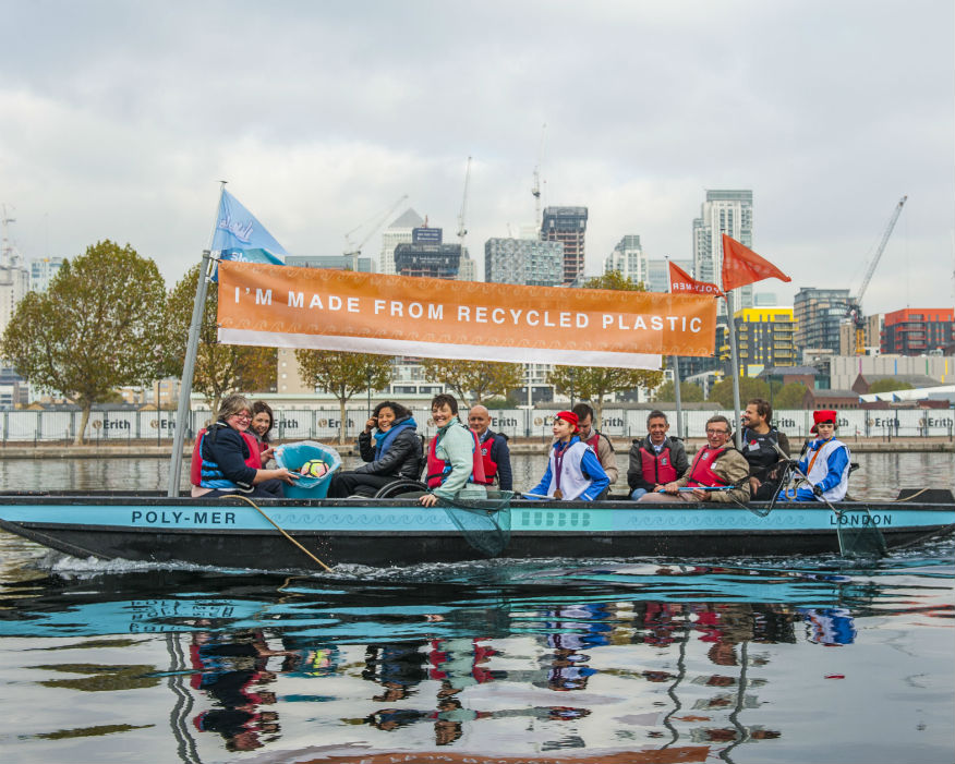 Poly-Mer is the world's first boat made from 99% recycled plastic waste. Picture: Hubbub