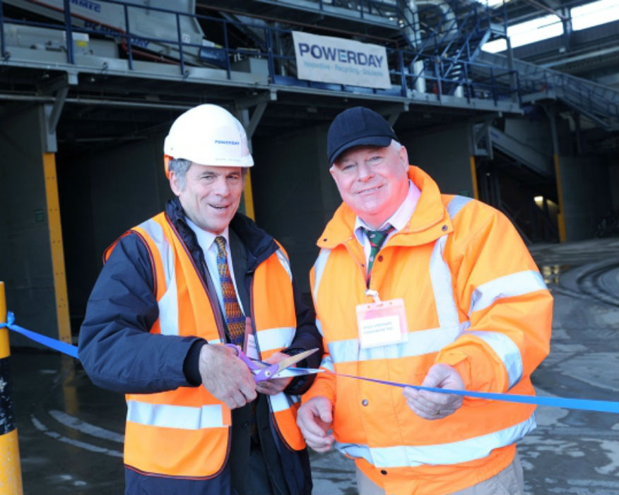 Enfield councillor Sitkin with Mick Crossan (right) opening the MRF. Picture: Powerday