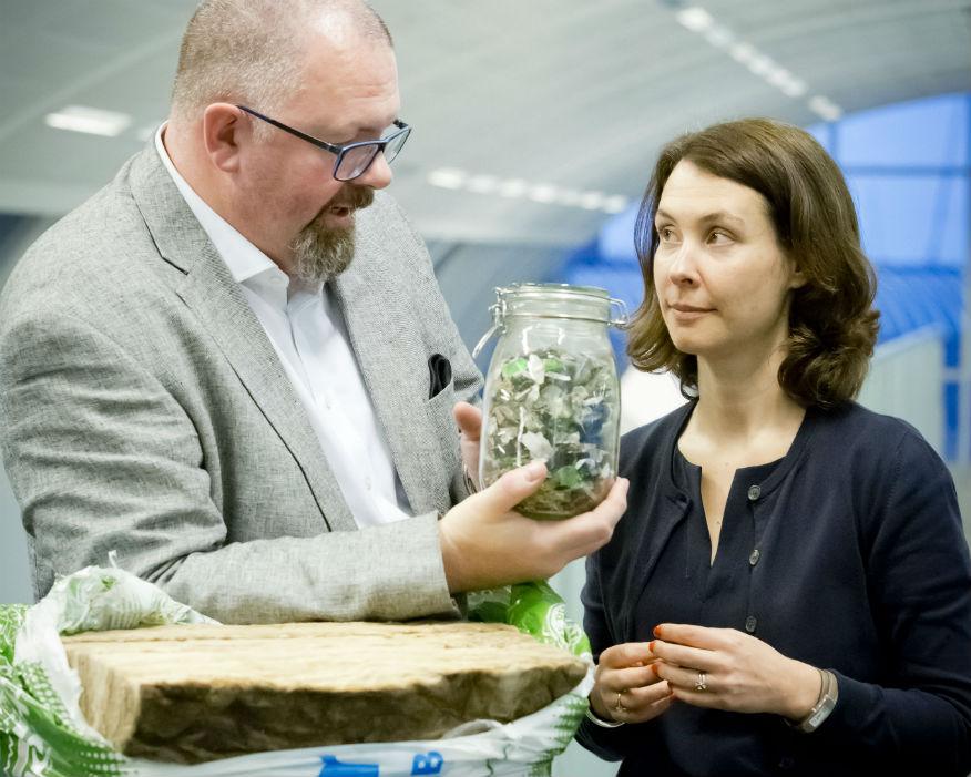 Veolia's Estelle Brachlianoff with Knauf's John Sinfield. Picture: Veolia/Grainge Photography