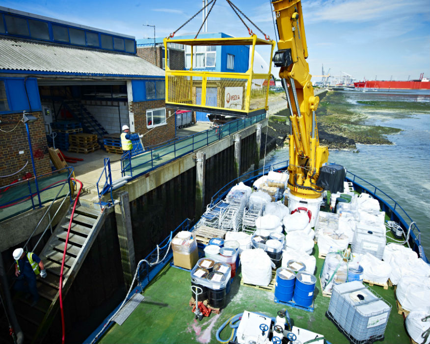 A barge will collect and transfer wate to recycling facilities. Picture: Veolia