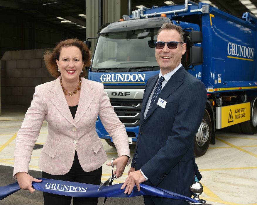 MP Victoria Prentis cuts the ribbon alongside Neil Grundon. Picture: Grundon