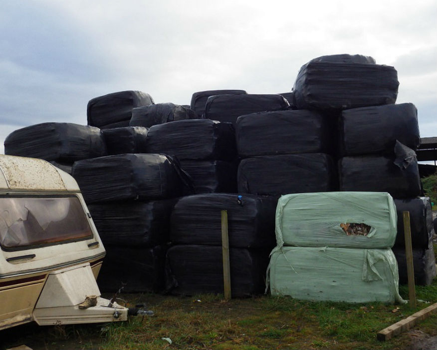 Baled waste illegally dumped in the north east. Picture: Environment Agency