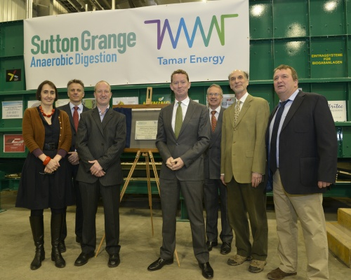 The minister opens the UK's biggest on-farm AD facility. Picture: Tamar Energy