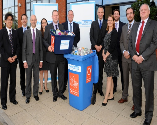 Recoup chief executive Stuart Foster, Defra's Lord de Mauley and the Plastic Matters initiative founding signatories. Picture: Recoup