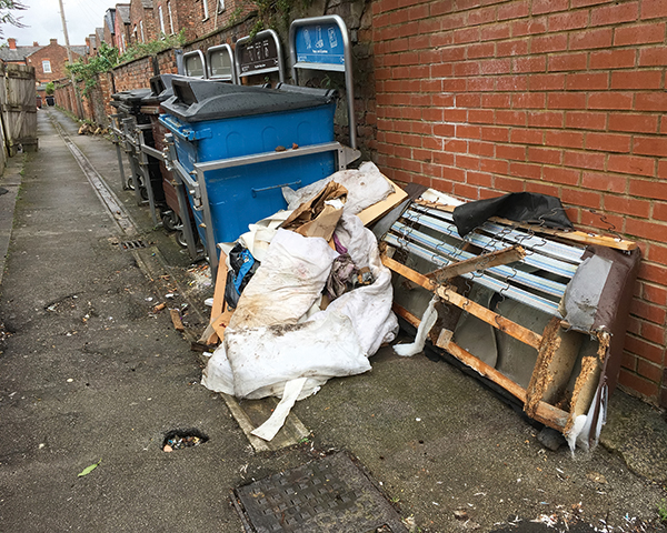 Waste dumped in Moss Side, Manchester. Photo: Dr. Simon Pardoe/Upping It