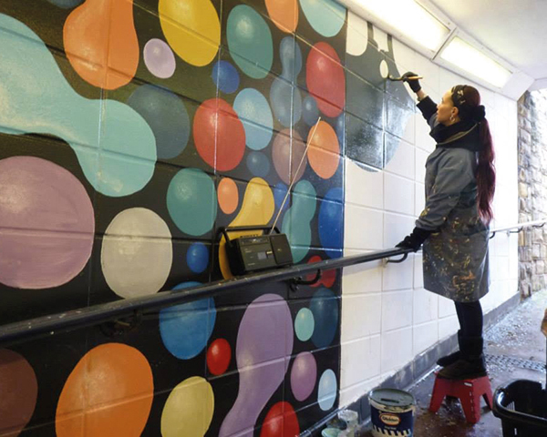 Paint saved from landfill brightens up Bradford. Photograph: Community Repaint Network