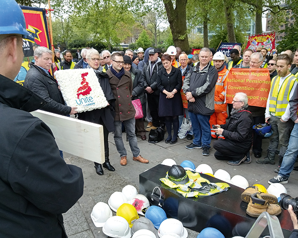 International Workers Memorial Day in London. Photo: GMB