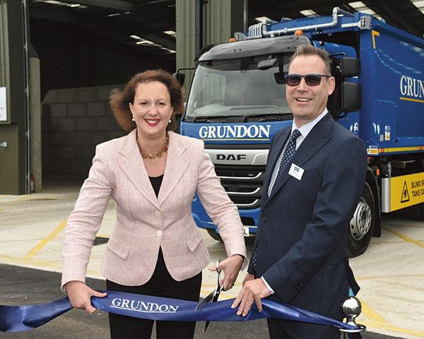 MP Victoria Prentis cuts the ribbon at Banbury alongside the company's Neil Grundon. Photo: Grundon