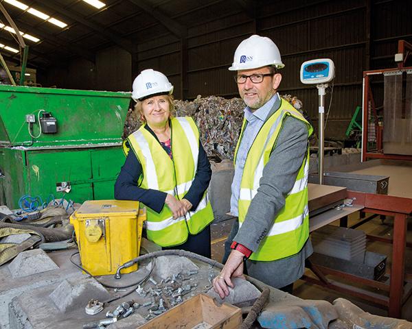 Cabinet secretary Roseanna Cunningham and Zero Waste Scotland Chief Executive Iain Gulland announce £1.7m funding for Project Beacon. Photograph: Iain McLean/Binn Group