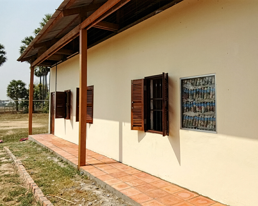 Ecobricks made from recycled plastic bottles were used to build a school in Cambodia (photograph: David Leeke/Dynafish)