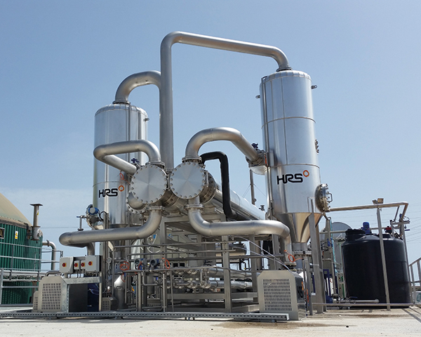 Operational digestate concentration system. Photograph: HRS Heat Exchangers