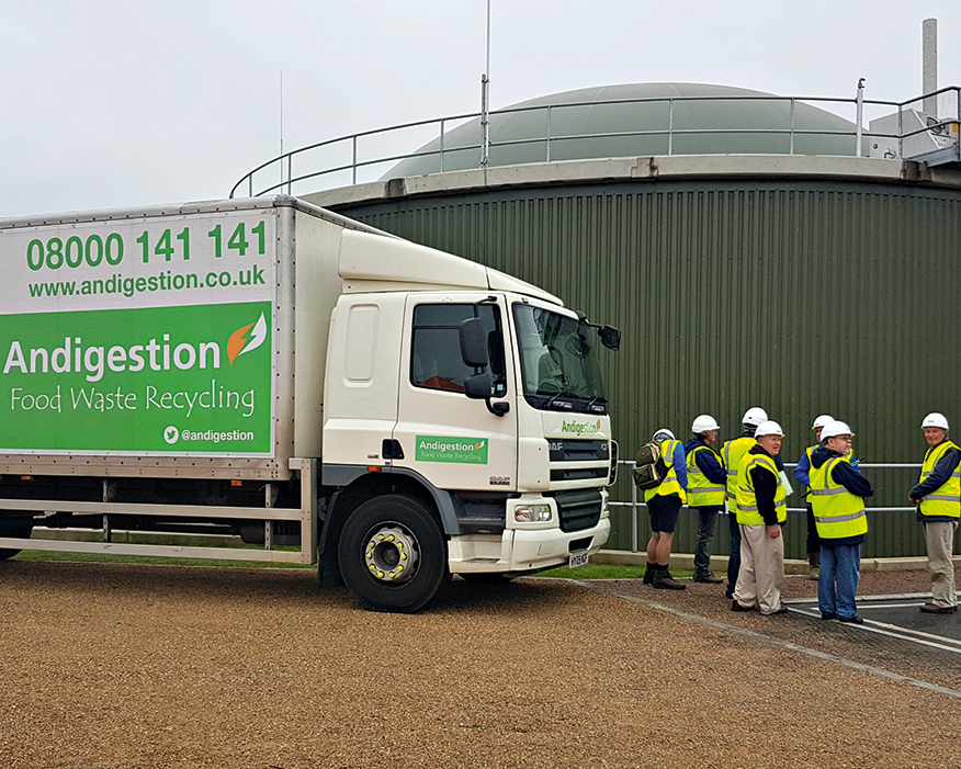 The plant produces enough green gas from food waste to supply 4,200 homes. Photograph: Andigestion