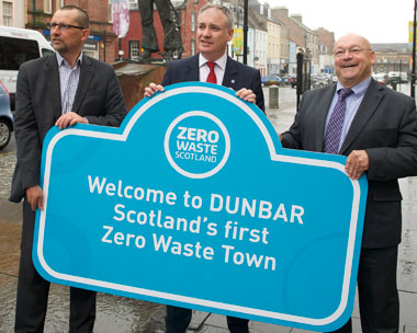 Gulland, environment secretary Lochhead and Grindley. Picture: Zero Waste Scotland