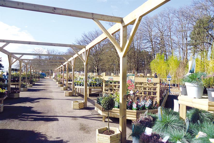 Frensham: expanded planteria refurbished with new benches from Woodlodge - image: HW