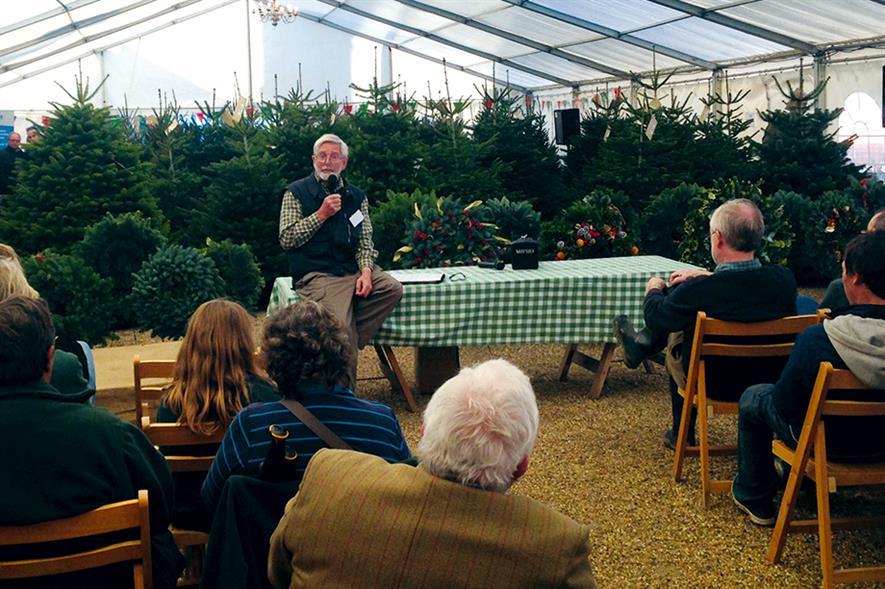 Palmer: addressing growers at Hole Park Estate in Kent