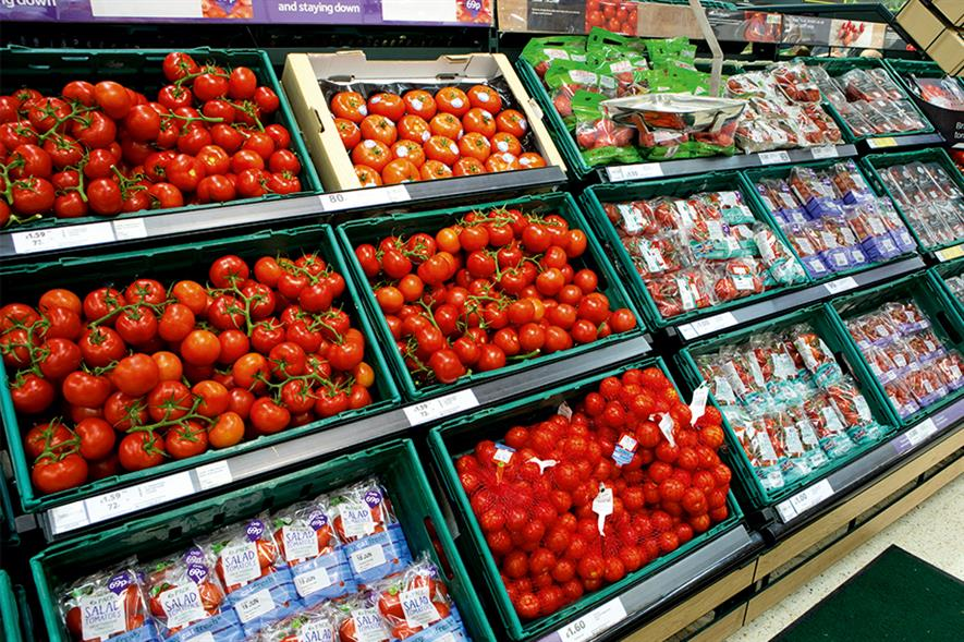 Tesco: sales in some fresh-produce categories increased but the profit made on them decreased due to price cuts - image: HW