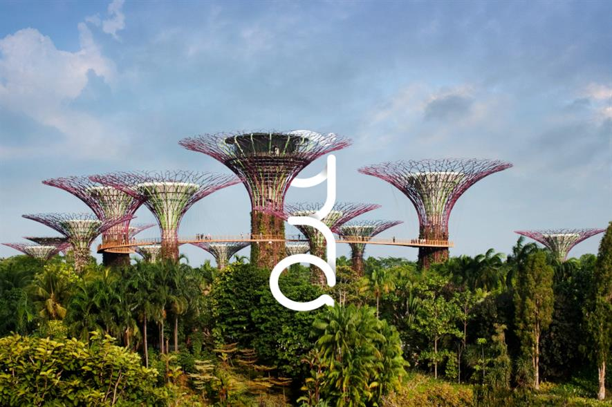 New Grant Associates logo over the Gardens By the Bay projects, Singapore - image: Grant Associates