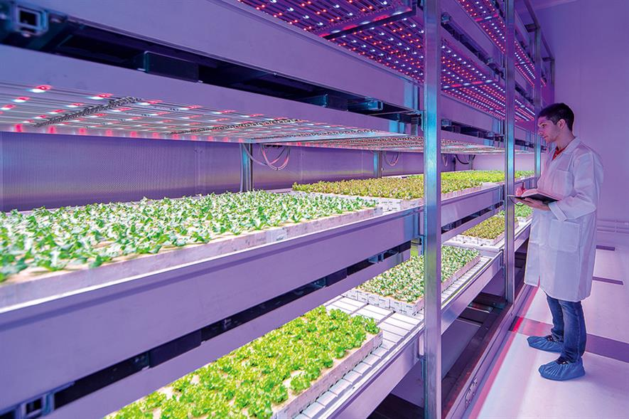 GrowWise Center: eight climate-controlled rooms contain mechanised planting racks lit by LED modules - image: Philips