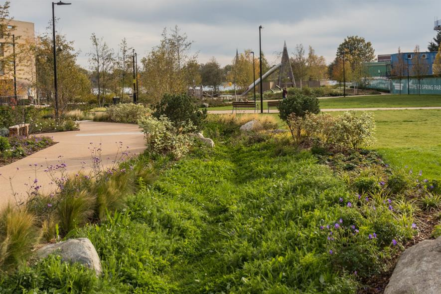 Sustainable drainage system at Woodbury Down, Finsbury Park - credit: susdrain