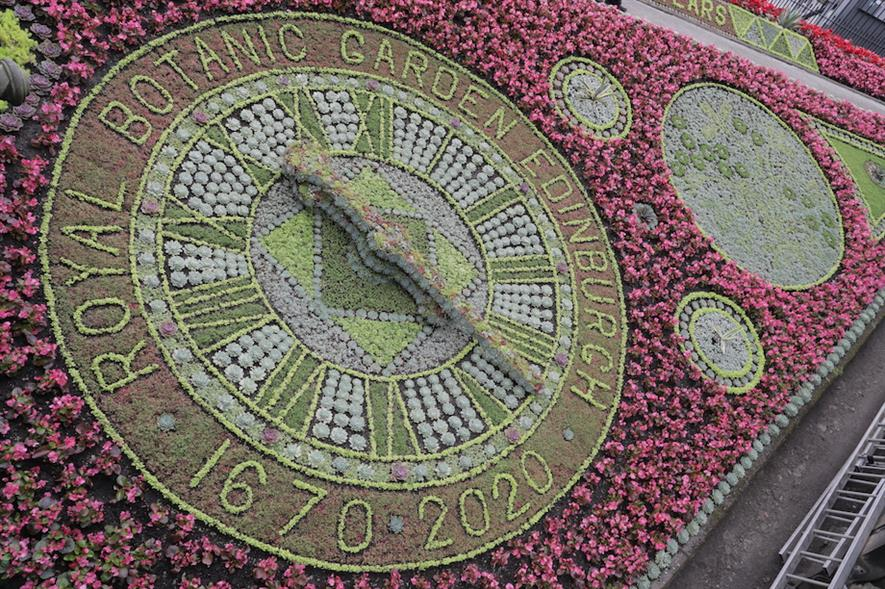 Three gardeners took seven weeks to plant over 35,000 flowers and plants used to create the floral clock - credit: RGBE