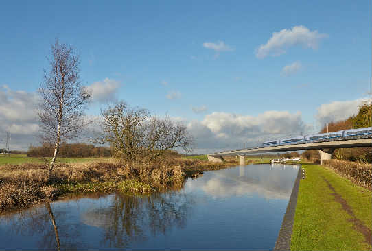 An artist's impression of the HS2 rail link - image: HS2