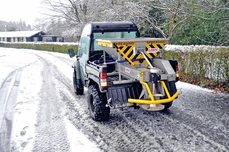 Spreader: PDS150D for UTVs' rear platforms features a low filling height, low centre of gravity and even weight distribution - credit: Logic