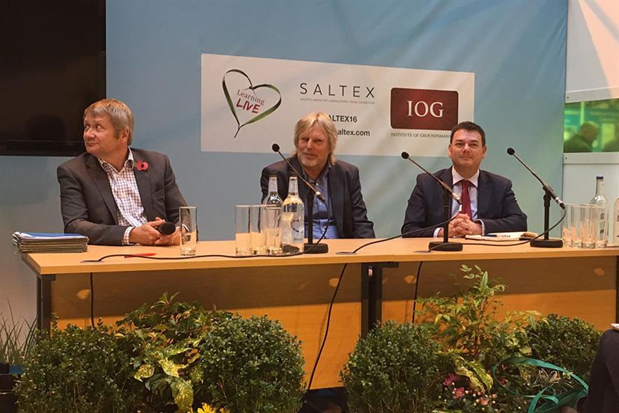 Amenity Forum debate panel at IoG Saltex 2016: L- R Mark De Ath, Will Kay, Stephen Jacob - image: HW