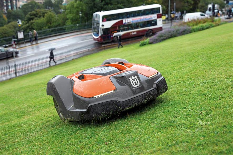 Automower: commercial trials carried out at sites including The Mound in Edinburgh - image: Husqvarna
